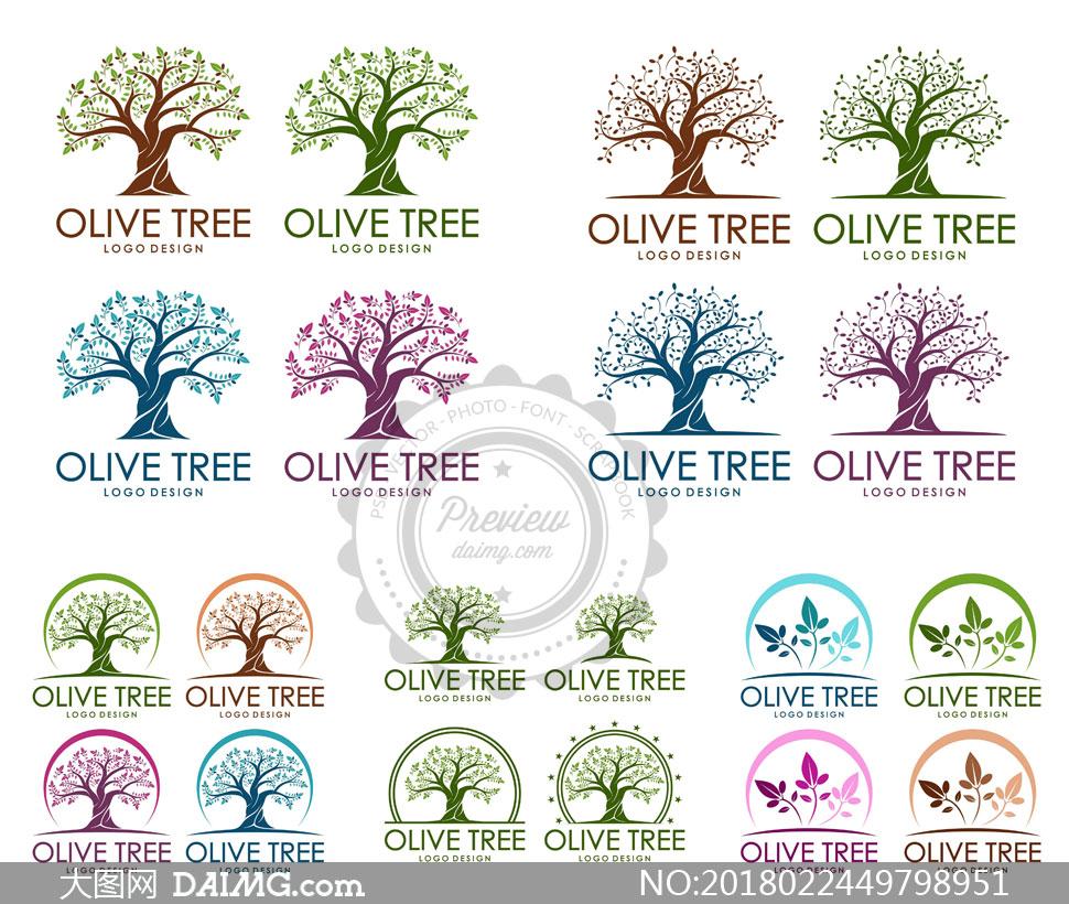 多彩橄榄树元素的标志创意矢量素材