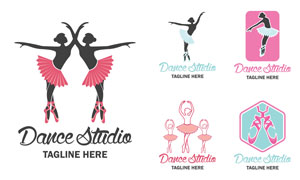 翩翩起舞的芭蕾舞者标志矢量素材V4