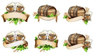 橡木桶与飘带麦穗创意设计矢量素材