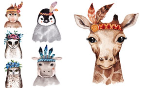 水彩逼真效果动物插画创意矢量素材