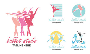 翩翩起舞的芭蕾舞者标志矢量素材V1