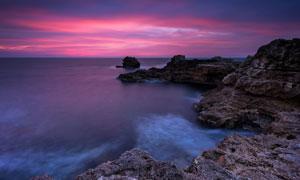 傍晚霞光与海上的美景摄影高清图片