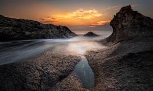 黄昏云彩大海自然风光摄影高清图片