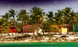 星空与水边的树木房屋摄影高清图片