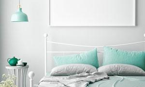 房间插花吊灯与铁艺床摄影高清图片