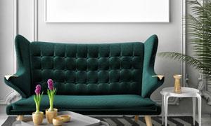 空白挂画与沙发装饰品创意高清图片