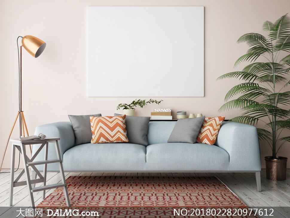 大图首页 高清图片 家装效果 > 素材信息          落地灯沙发与植物