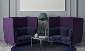 挂画茶几与紫色的沙发创意高清图片
