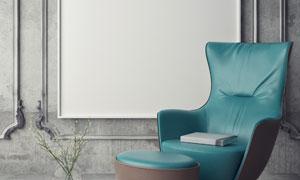 沙发鲜花与墙上的挂画创意高清图片