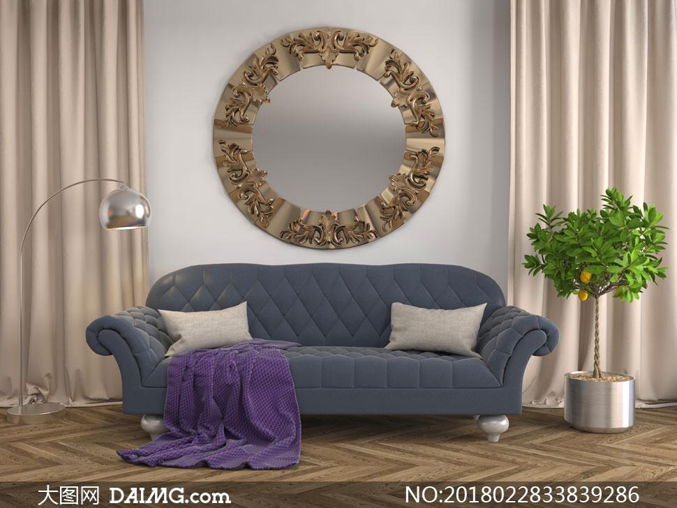 绿植沙发与圆形的挂件陈设高清图片