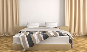 卧室房间窗帘与双人床摄影高清图片