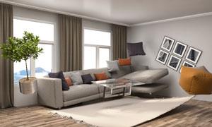 房间悬浮状态家具创意视觉高清图片