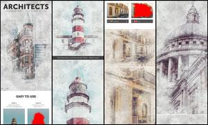 建筑物转线稿和水彩画效果PS动作