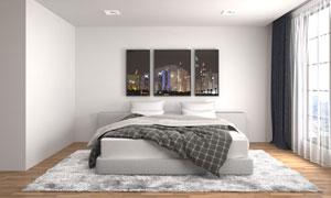 简约风格卧室床具摆放效果高清图片