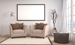 房间懒人沙发与干枝落地灯高清图片