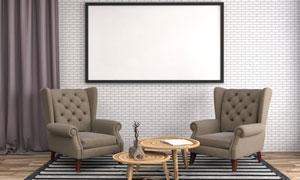 客厅木质茶几与沙发装饰画高清图片