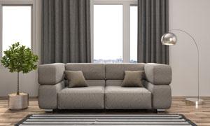 房间绿植沙发与深灰色窗帘高清图片