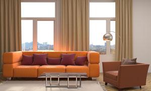 橙色沙发上的一堆红色抱枕高清图片