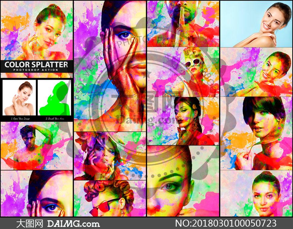 彩色油漆喷溅艺术效果PS动作