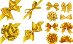 金色蝴蝶结等丝带装饰元素矢量素材