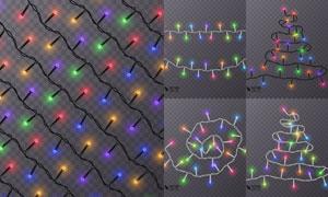 亮着的节日氛围用彩灯主题矢量素材