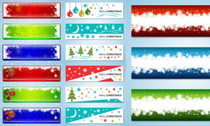 圣诞节挂球与雪花元素BANNER素材