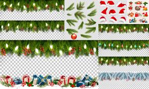 圣诞帽与树枝等圣诞节主题矢量素材