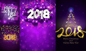 圣诞节与2018主题海报设计矢量素材