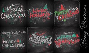 黑板上的粉笔效果圣诞字母矢量素材