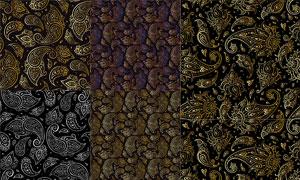 无缝拼接的佩斯利花纹矢量素材集V2