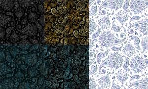 无缝拼接的佩斯利花纹矢量素材集V3