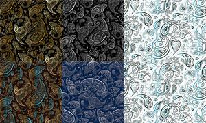 无缝拼接的佩斯利花纹矢量素材集V4