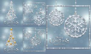 银光闪闪的圣诞树挂球创意矢量素材