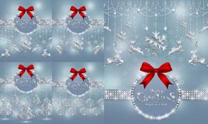 蝴蝶结与银色挂饰圣诞主题矢量素材