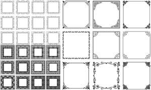 黑白效果方形花纹边框装饰矢量素材