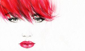 红色头发美女人物绘画创意高清图片