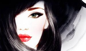 被长发遮住眼睛的美女插画高清图片