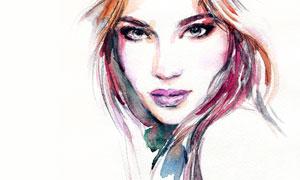 露肩长发美女人物水彩绘画高清图片