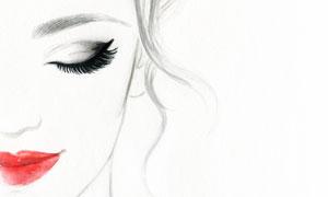 闭着眼的红唇美女人物绘画高清图片