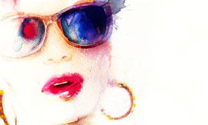 戴耳环的墨镜美女水彩插画高清图片