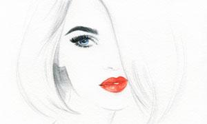 短发红唇造型美女人物绘画高清图片