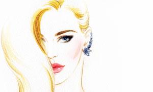 红唇长发美女人物水彩绘画高清图片