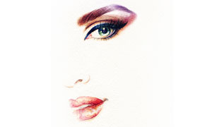红唇与明亮的眼眸水彩绘画创意图片