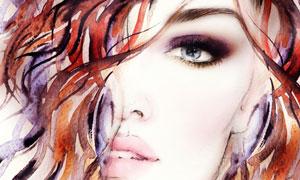 头发遮住眼睛的美女水彩画高清图片