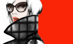 戴着眼镜的立领美女水彩画高清图片