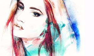 披肩秀发美女水彩绘画创意高清图片