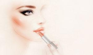 在涂抹口红的手绘美女人物高清图片