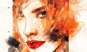 水彩绘画创意红唇美女人物高清图片