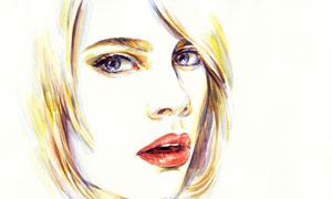 张着嘴的短发美女水彩插画高清图片