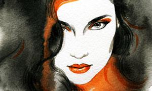 妆容卷发美女人物水彩绘画高清图片